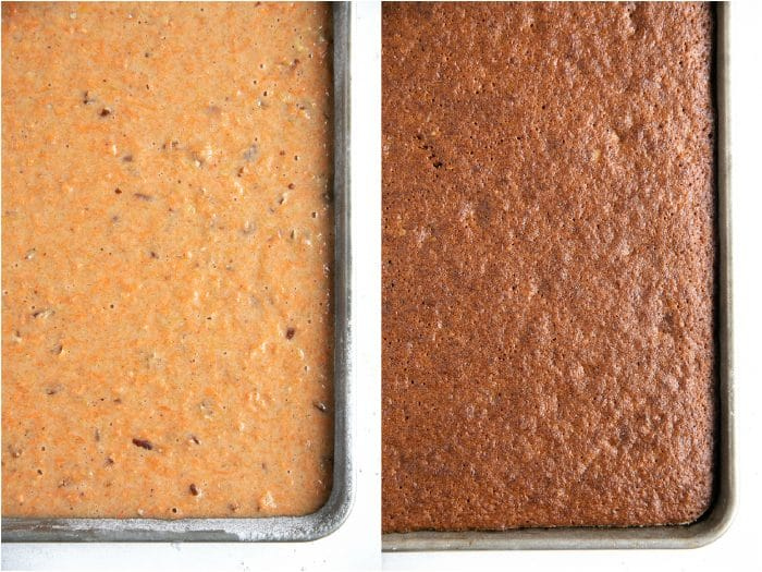 Unbaked and baked carrot sheet cake side-by-side.
