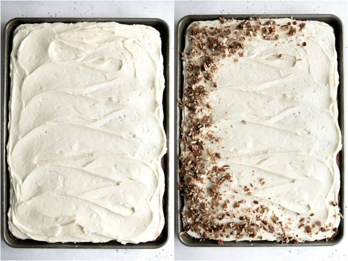 Frosted carrot sheet cake on the left and frosted carrot sheet cake with crushed pecans on the right.