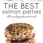Long pinterest pin for salmon patties.
