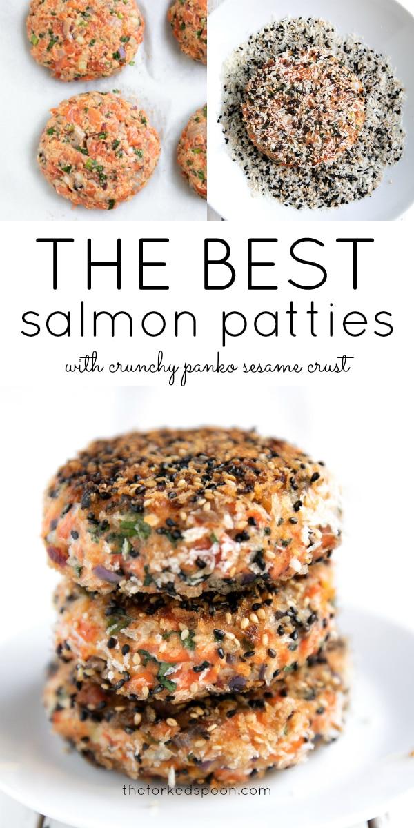 Long pinterest pin for salmon patties.