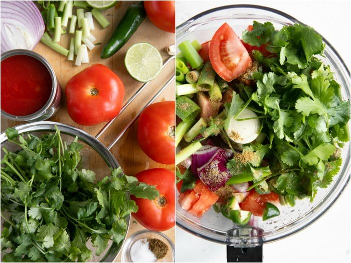Ingredients needed to make homemade salsa including cilantro, tomatoes, canned tomato, lime juice, jalapeno, green onions, and red onions.