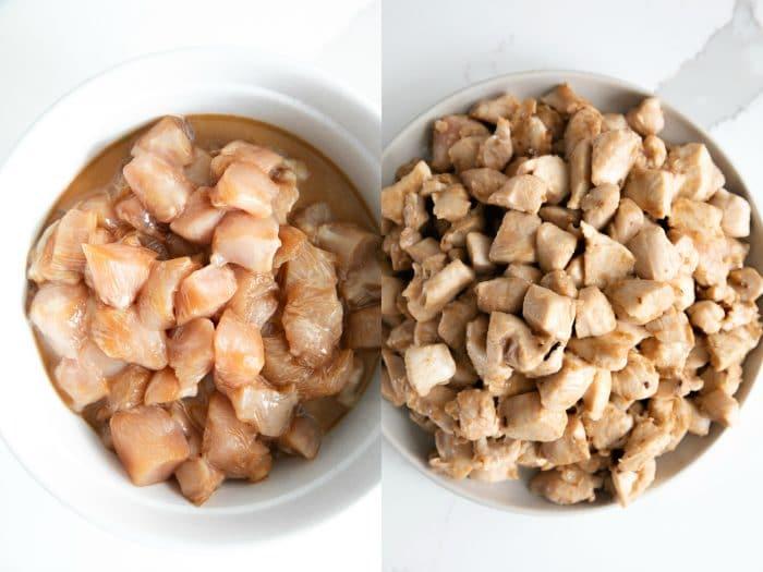 szechuan chicken marinating