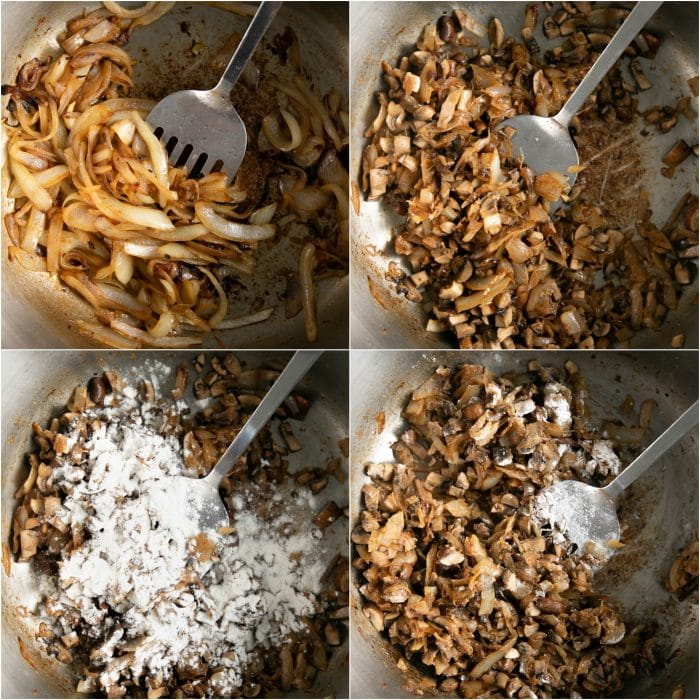 Collage of four images showing onions caramelizing, and homemade cream of mushroom soup being prepared.