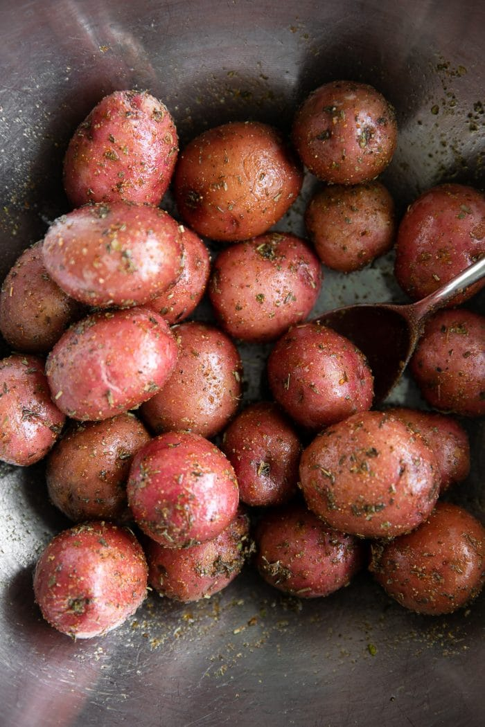 Small red potatoes tossed in olive oil and seasoning.
