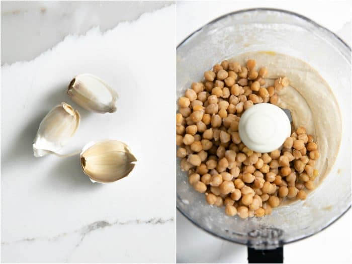 Adding garlic and garbanzo beans to make hummus