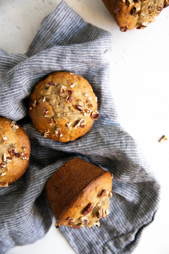 Freshly baked banana muffins with nuts.