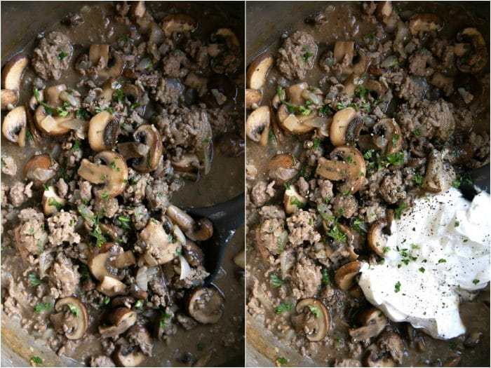 Mixing sour cream into groud beef, mushrooms, and stroganoff sauce