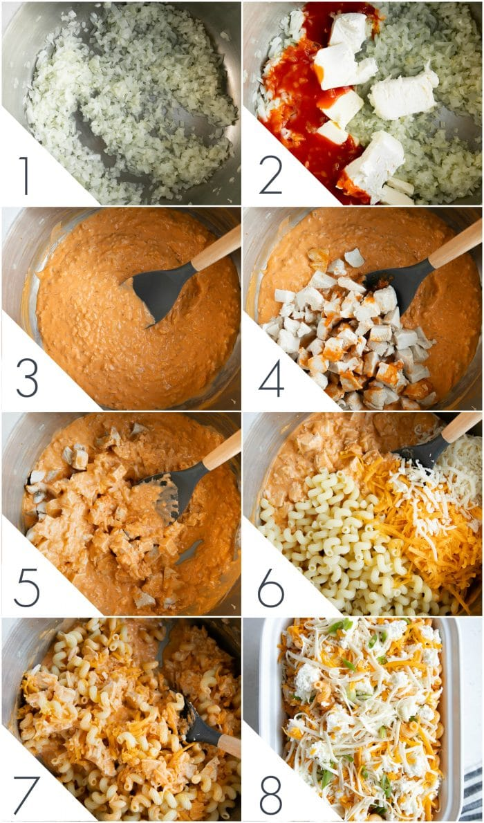 Step-by-step image collage detailing how to make buffalo chicken pasta.