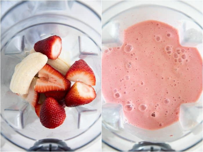 Blender filled with strawberries and banana.