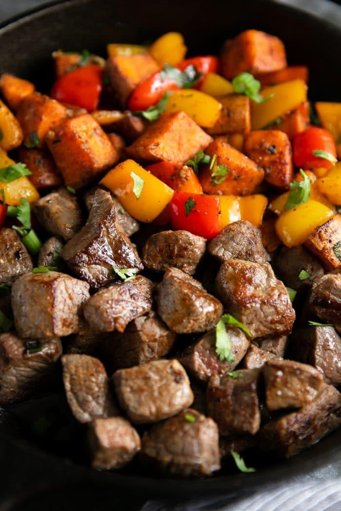 Steak and sweet potato skillet.