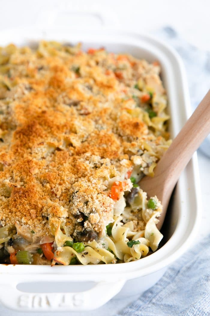 Crispy golden casserole made with canned tuna, noodles, and a homemade sauce.