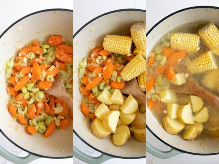 Step by step images showing how to make caldo de pollo.