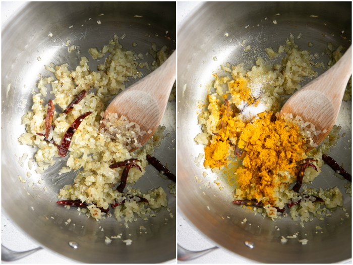 Frying the aromatics for masoor dal.