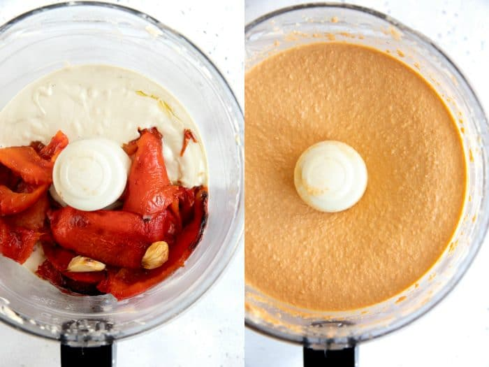 roasted red pepper hummus in a food processor