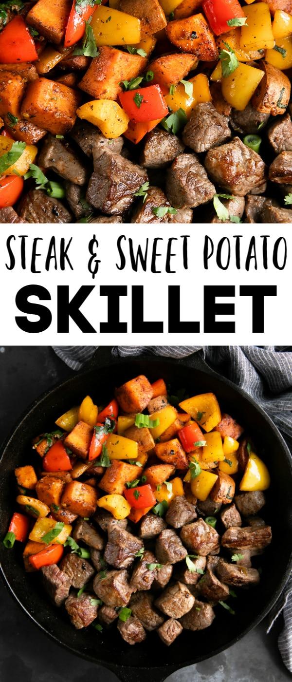 steak and sweet potato skillet long pin