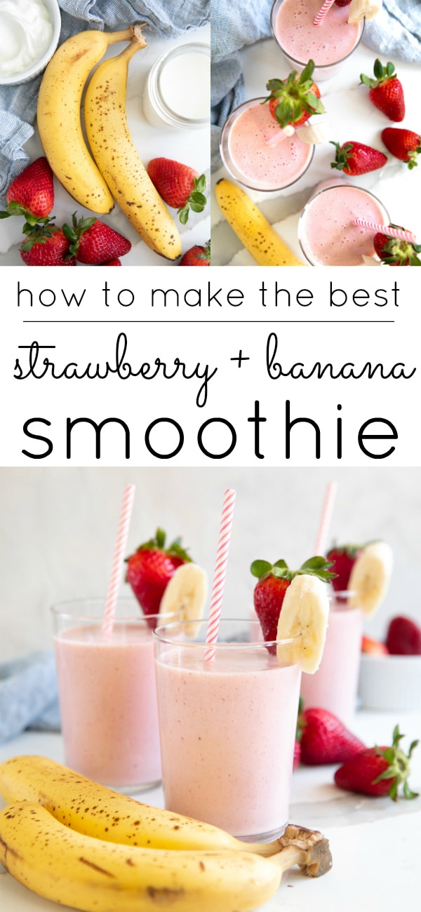 strawberry banana smoothie long pin
