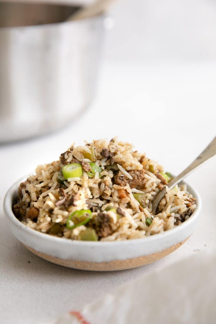 Small serving bowl filled with classic Cajun dirty rice garnished with chopped green onions.