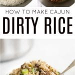 Dirty Rice Recipe pinterest collage pin