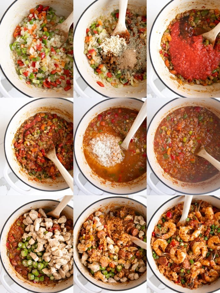 Nine images in a collage showing the steps to make jambalaya.