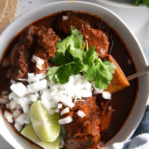 Bowl filled with cooked beef birria garnished with white onion, cilantro, and lime wedges.