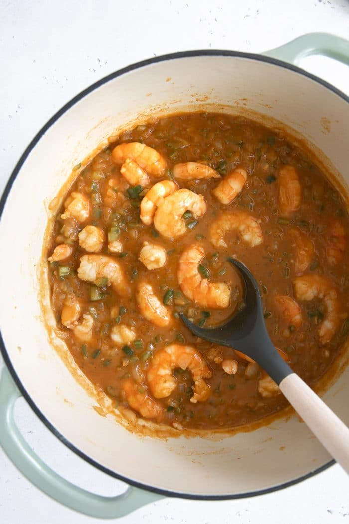 Cooked shrimp etouffee in a large Dutch oven.