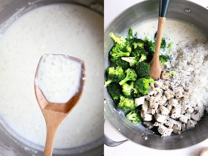 Two collaged images. The first image is of a homemade cream sauce and the second is of blanched broccoli and chicken in a homemade cream sauce.
