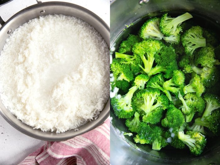 Collage of two images, one image of a pot with rice being cooked and the other of a pot filled with blanched broccoli.