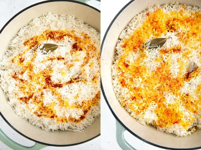 Biryani before and after cooking