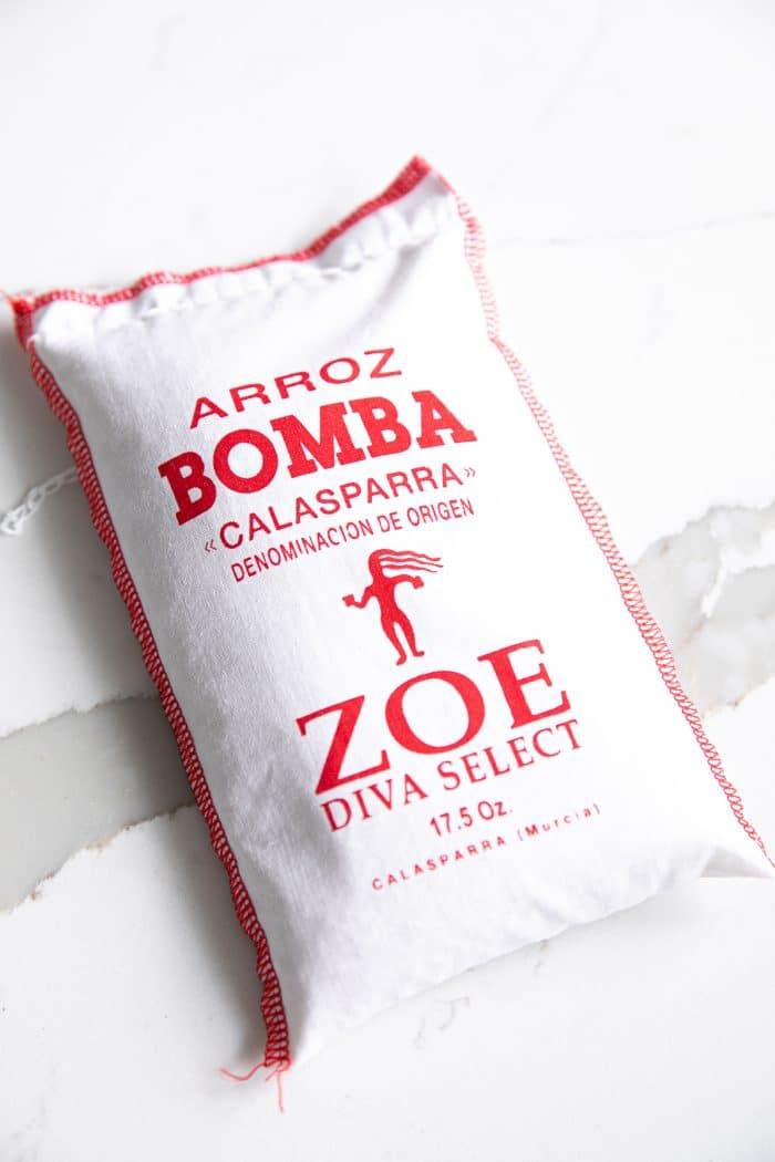 Bag of bomba rice used to make paella.