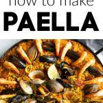Paella recipe pinterest pin collaged image