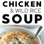 Chicken and wild rice soup recipe pinterest pin collaged image