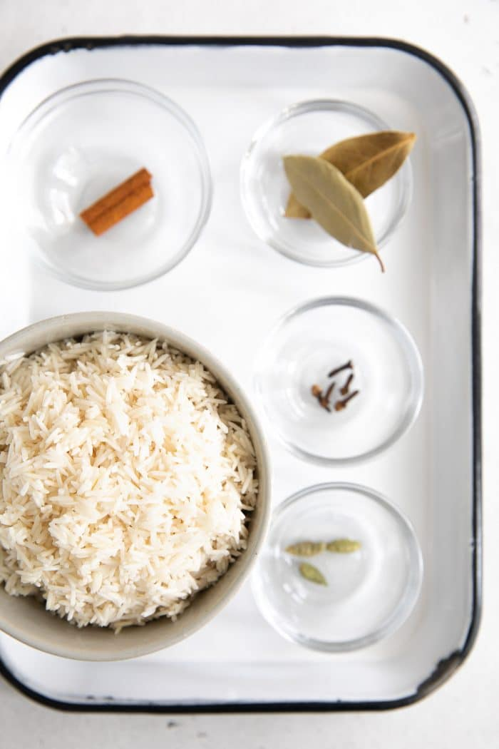 Ingredients to cook basmati rice.