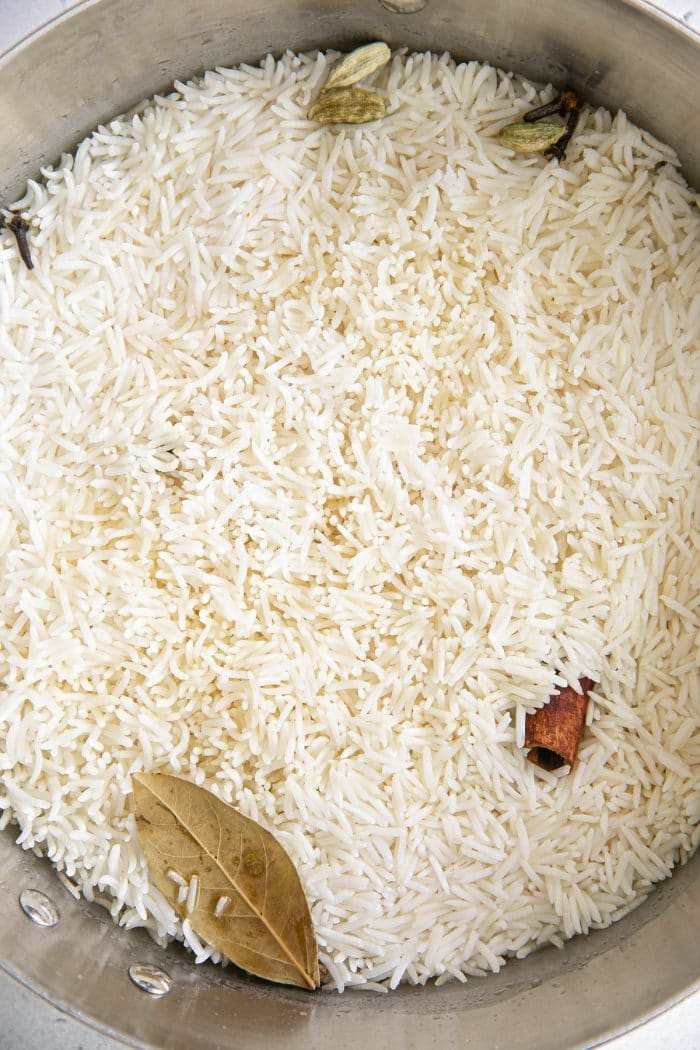 Cooked basmati rice.