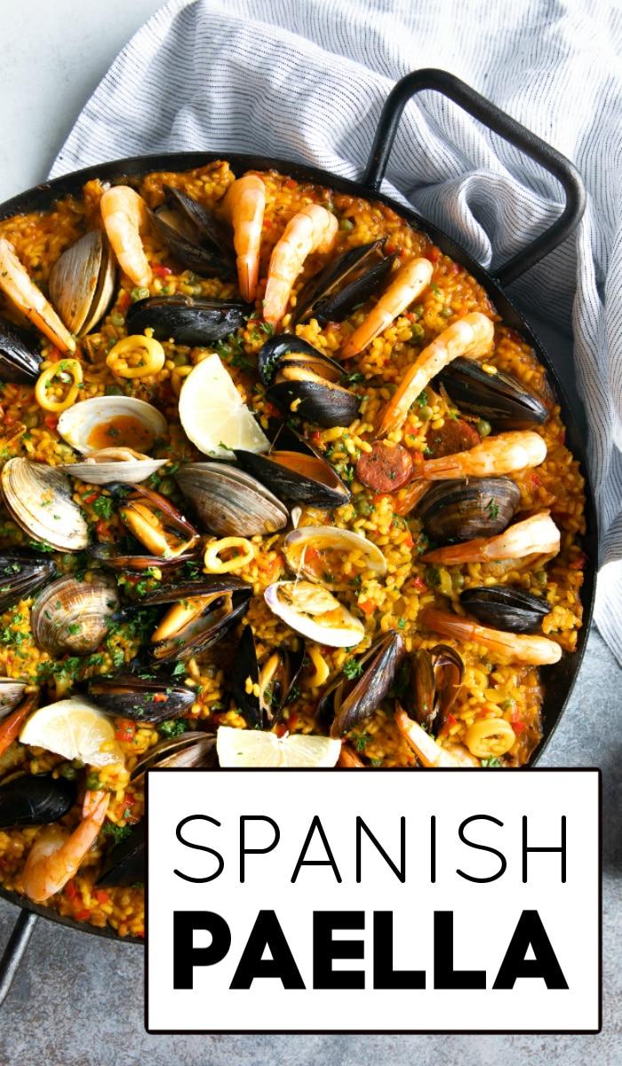 paella recipe pinterest pin image