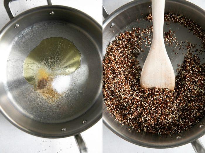 Toasting quinoa in a large saucepan.