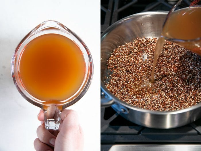 Adding vegetable broth to dry, uncooked quinoa