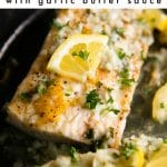Easy Mahi Mahi Recipe with Lemon Garlic Sauce Pinterest Pin Image