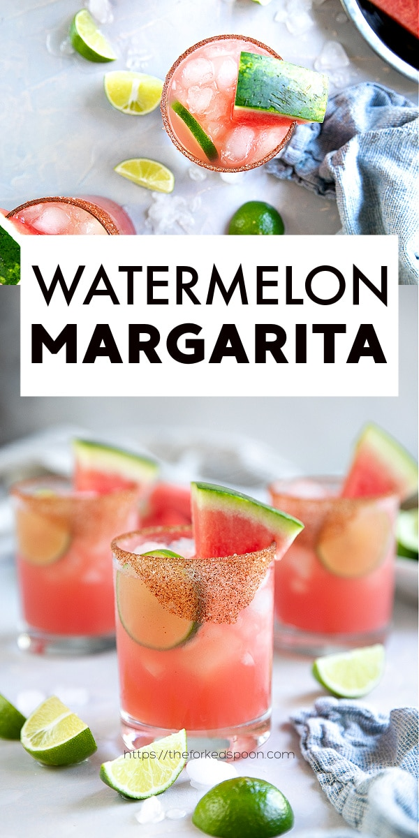 Watermelon Margarita Recipe pinterest pin collage image