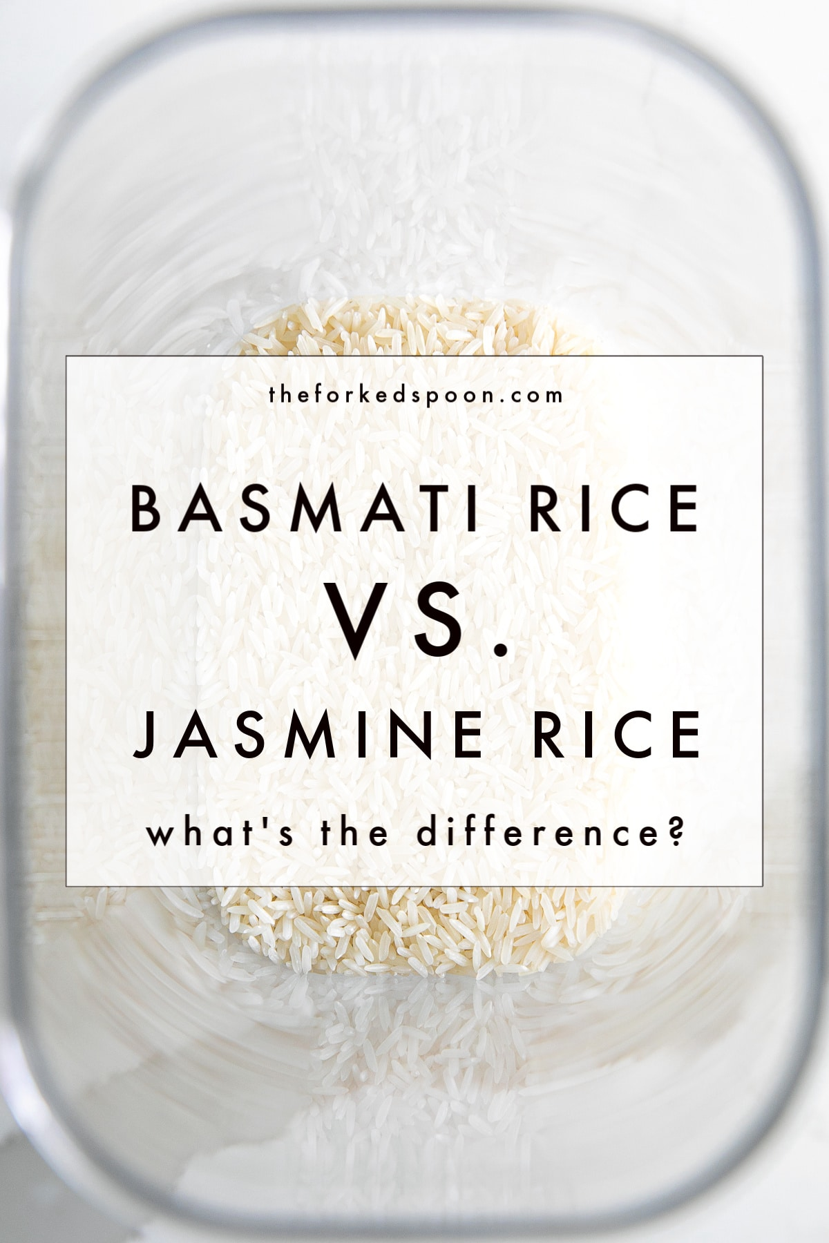 Container filled with jasmine rice with text overlay: Basmati Rice vs. Jasmine Rice: What's the Difference?