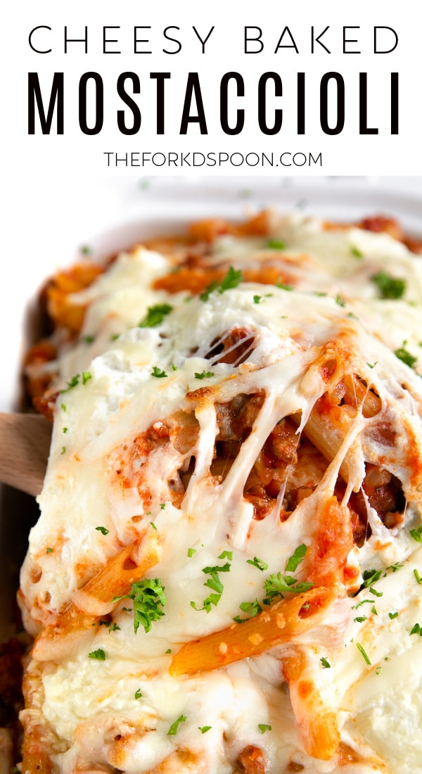 Baked Mostaccioli Recipe Pinterest Pin Collage Image