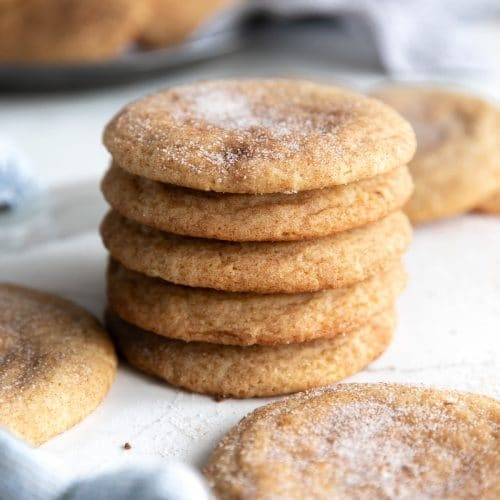 Stack of five snickerdoodle cookies.