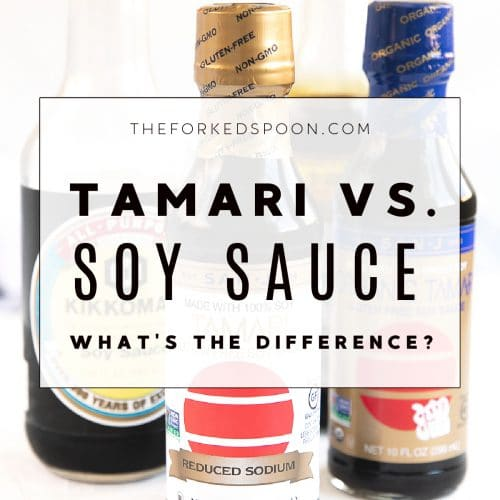 Bottles of soy sauce and tamari set on a table.