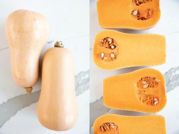 Whole and halved butternut squash.