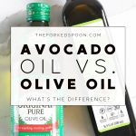 One bottle of olive oil and one bottle of avocado oil with text overlay