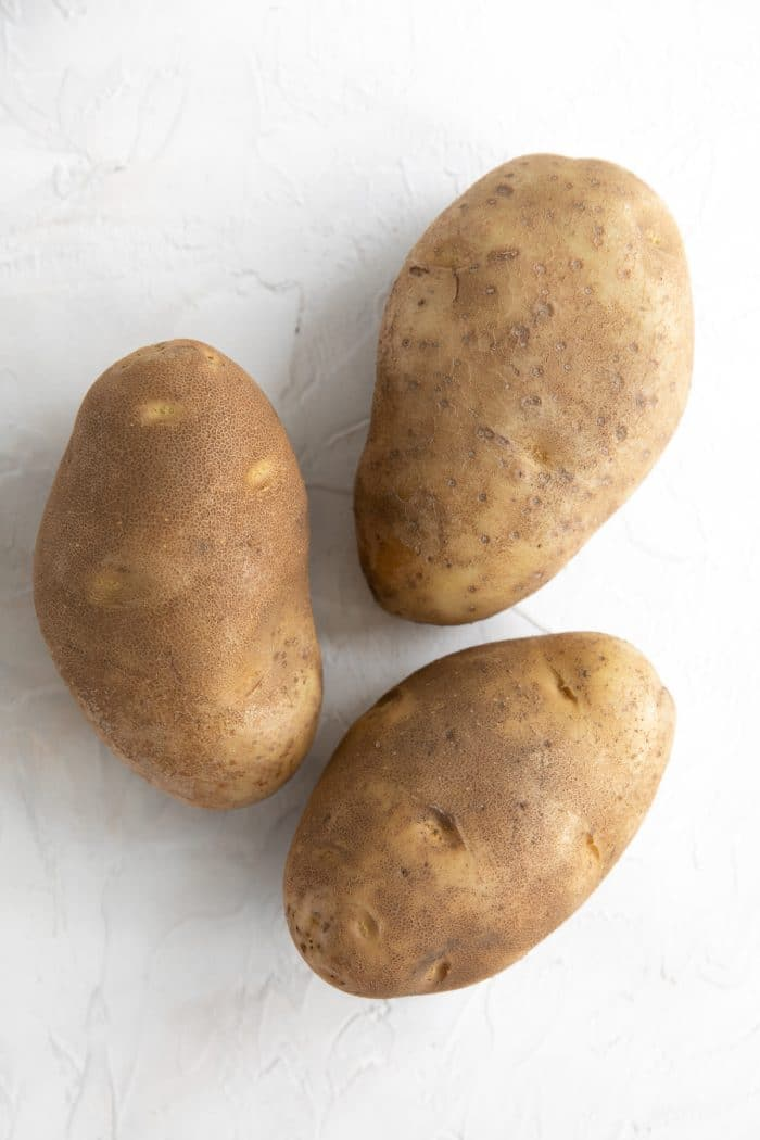 Three large russet potatoes