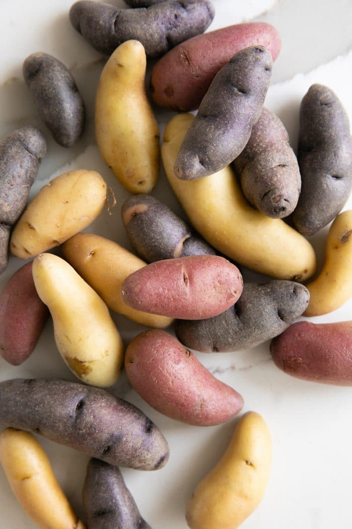 Multi-colored fingerling potatoes.