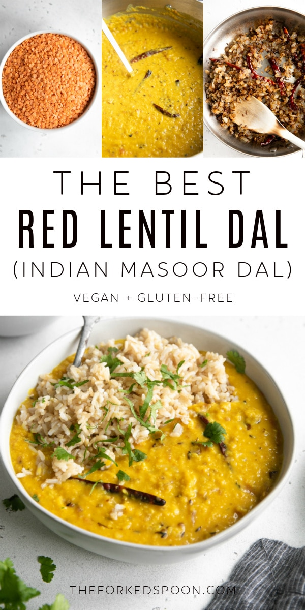 Red Lentil Dal Recipe (Indian Masoor Dal) Pinterest Pin Image