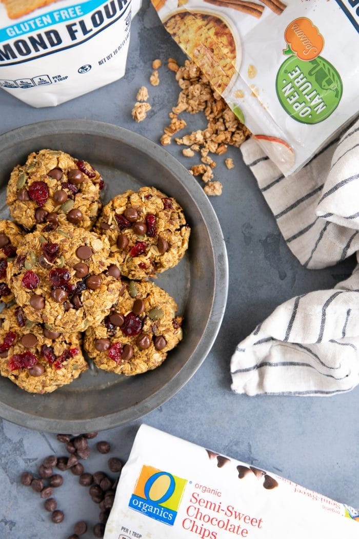 Tin platter filled with granola breakfast cookies.