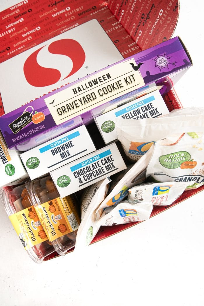 Multiple items available from Safeway stores in a cardboard box covered with the Safeway logo.