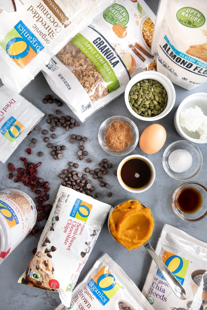 All ingredients needed to make autumn granola breakfast cookies.
